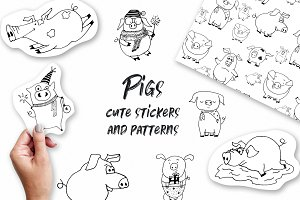 Pigs.Cute vector Stickers & Patterns