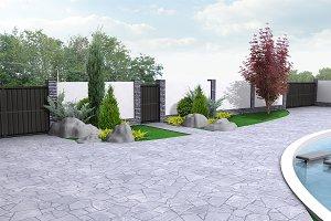 Private land landscaping, 3D render