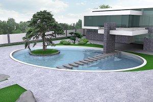 Luxury estate gardening illustration