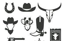Wild west cowboy objects.