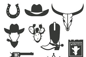 Wild west cowboy objects.