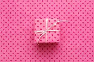 Pink gift box & polka dot paper.