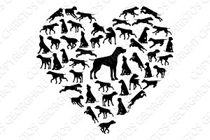 Beagle Dog Heart Silhouette Concept
