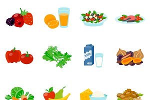 Healthy food flat icons set