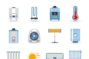 Heating devices color icon set