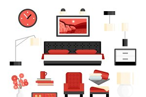 Bedroom decorative icon set