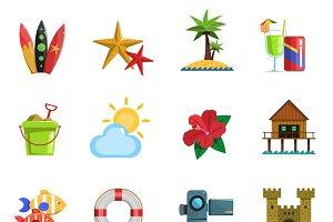 Beach icons flat set