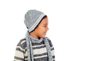 Beautiful child with wool scarf