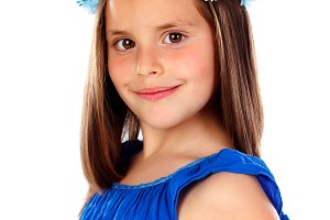 Beautiful small girl with blue dress