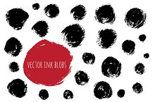 Vector set of ink brush blobs