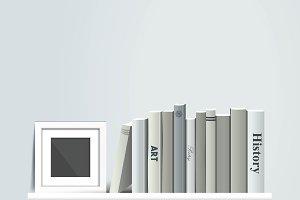 Photoframe mock up on the bookshelf