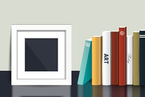 Book shelf with picture mock up fram