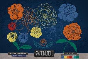 Roses peonies flower navy