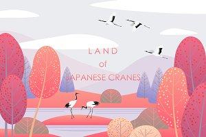Japanese Cranes Land