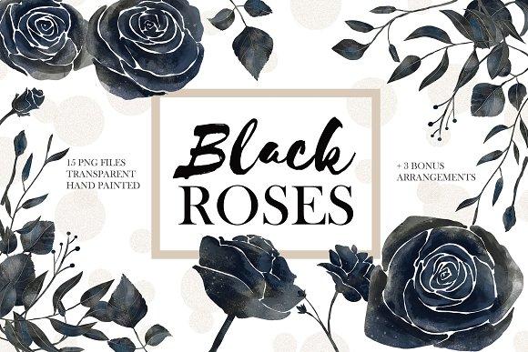 Black Roses Dark Floral Set Illustrations Creative Market