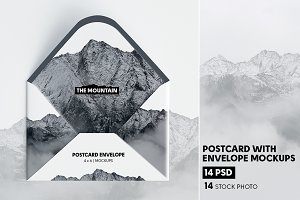 Postcard With Envelope Mock-Ups V.1