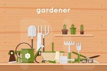 Garden tools. Man and woman gardener
