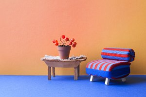 Cozy living room interior. Blue red