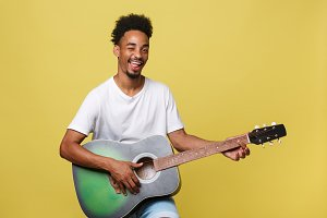 Happy african american musician man