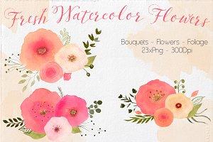 Watercolor Fresh Flowers