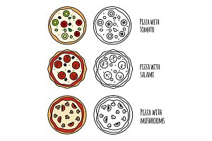 Pizza menu icons