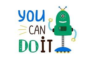 Kids t-shirt design with robot