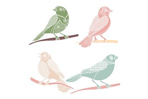 Vintage decorative birds