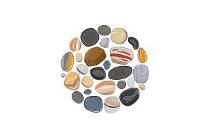 Stone round element isolated on