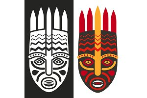 Tribal maya african masks