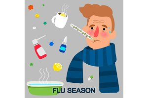 Flu season cartoon concept