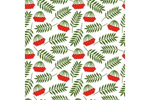 Rowan berries and leaves pattern