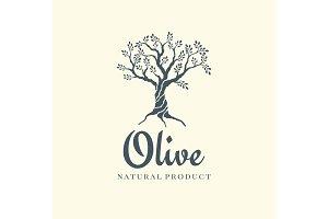 Olive tree vector logo design