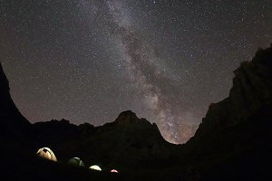 Campground climbers under the starry