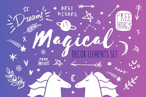Magical clip art elements set