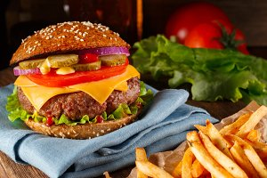 Rustic Burger on wooden background