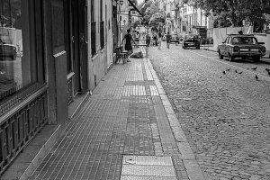 Cobblestone Street in Black  White