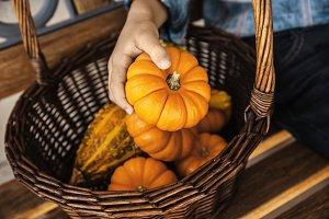 A Child Holding Orange Pumpkin