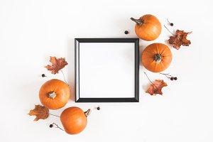 Photo frame, pumpkins