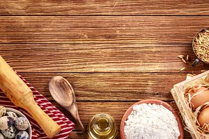 Ingredients for baking on wood
