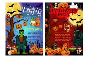 Halloween zombie party invitation