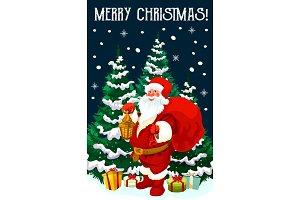 Santa, gift and Xmas tree