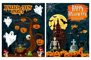 Halloween ghost house and pumpkin