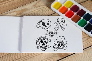 Jolly Roger skulls set