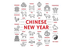New Year poster zodiac animals