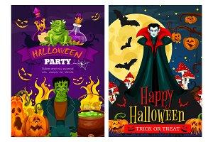 Halloween banner, zombie, vampire