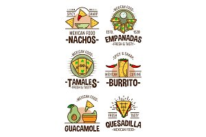 Mexican spicy food icons and signs