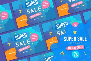 Vector Banner for Super Sale 80% off