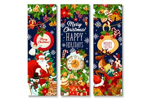 Merry Christmas holiday banners