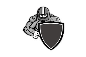Motorcycle Biker With Shield Mascot