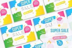 Vector Banner for Super Sale 50% off